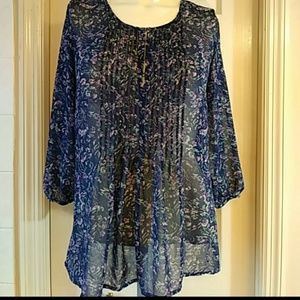 Forever 21 Floral Sheer Blue Top Size Small